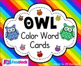 Color Word Cards - Owl Theme