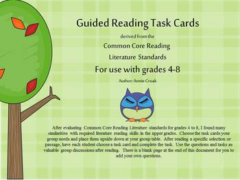 Common Core Guided Reading Task Cards: OWL THEME (grades 4-8)