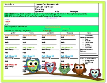 Owl Themed Common Core Lesson Plan Template