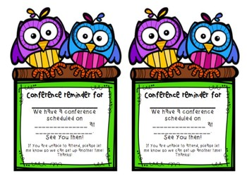 Owl-Themed Conference Reminders
