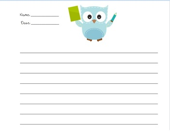 Owl Themed Creative Writing Paper- Customizable & in 3 Sizes!