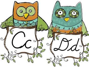 Owl Themed Cursive Word Wall Headers