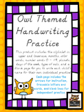 Owl Themed D'Nealian Handwriting Practice Book