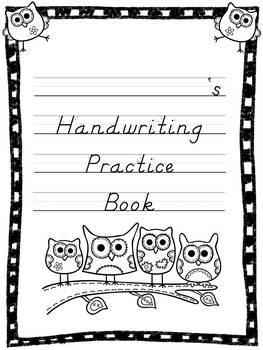 Owl Themed D'Nealian Handwriting Practice Book