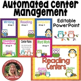 Owl Themed Daily Automated Centers and Guided Reading Rotation Powerpoint