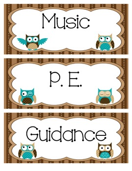 Owl Themed Daily Schedule Cards