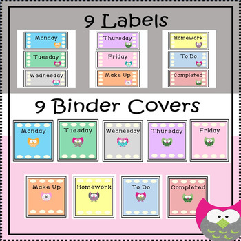 Labels and Binder Covers {Owl Themed}