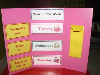 Owl-Themed Days of the Week Interactive Learning Board Set