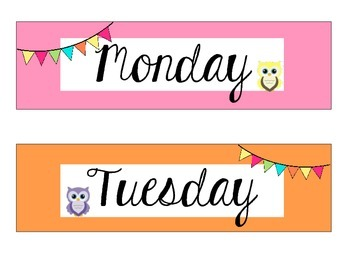 Owl Themed Days of the Week and Organization Posters