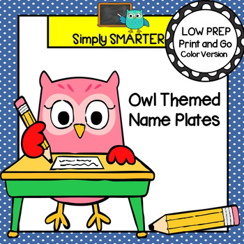 Owl Themed Desk Name Plates with Alphabet and Numbers (1-20)