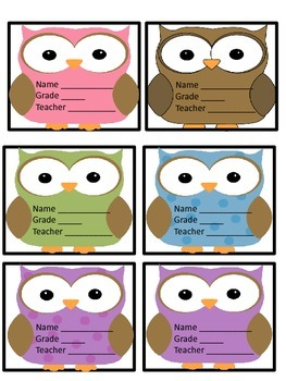 Owl Themed Desk Plates And Tags
