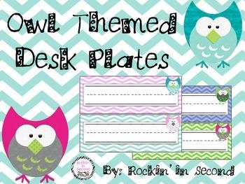 Owl Themed Desk Plates/Headers