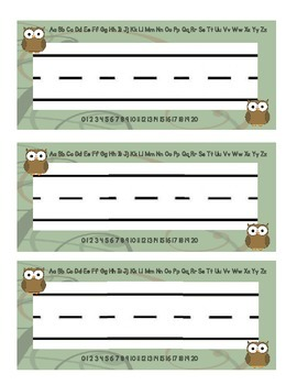 Owl Themed Desk Tags/Cubbie Tags-Green