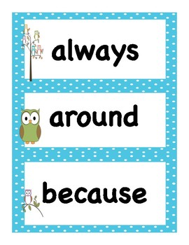 Back to School Owl Themed Dolch Second Grade Vocabulary Sight Words