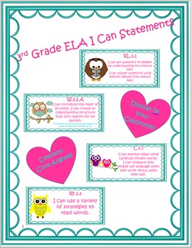 Owl Themed ELA Common Core I Can Statements 3rd Grade