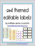 Owl Themed Editable Labels