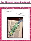 Owl Themed Editable Name Bookmarks For Each Student