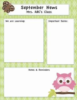 Owl Themed Editable Newsletter - Multiple Designs