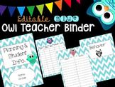 Editable Owl-Themed Teacher Binder (Blue)