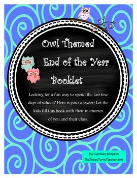 Owl Themed Memory Booklet ~ End of the Year