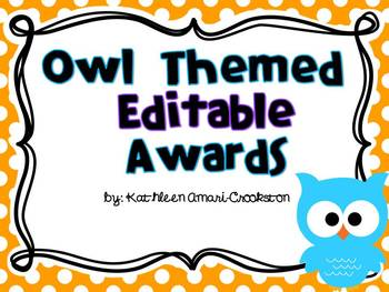 Owl Themed End of the Year Editable Certificates