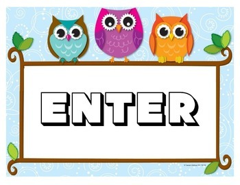 Owl Themed -  Enter & Exit Door Signs