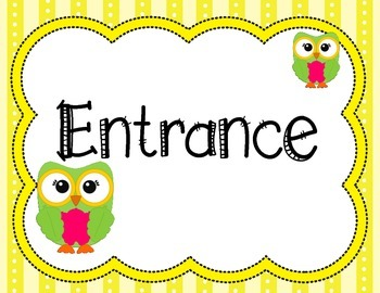 Owl Themed Entrance and Exit Signs