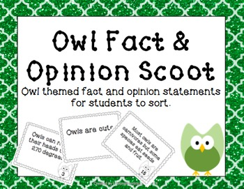 Owl Themed Fact & Opinion Scoot