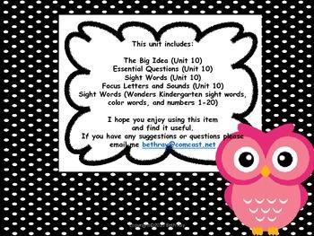 Owl Themed Focus Wall for Wonders Reading Kindergarten Unit 10