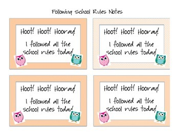 Owl Themed Following School Rules Notes