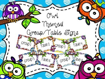 Owl Themed Group/Table Signs