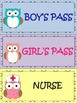 Owl Themed Hall Passes