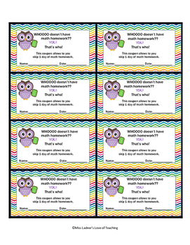 Owl Themed Homework Pass