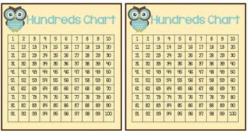 Owl Themed Hundreds Chart Bundle