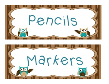 Owl Themed Labels for the classroom