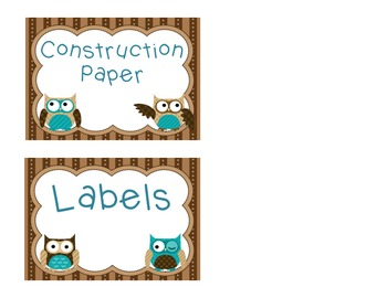 Owl Themed Labels for the classroom - 3.5 x 5