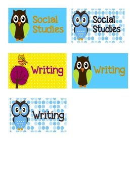 Owl Themed Labels for various subjects