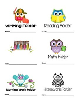 Owl Themed Labels Writing Reading Math Morning Work Homework Folder Labels