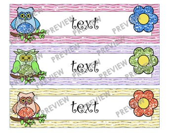 Owl Themed Large Drawer Labels