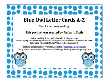 Owl Themed Letters A-Z Blue Polka Dots