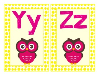 Owl Themed Letters A-Z Yellow Polka Dots