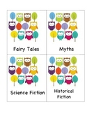 Owl Themed Library Genre Labels