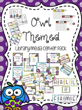 Owl Themed Library/Media Center Pack {with EDITABLE passes
