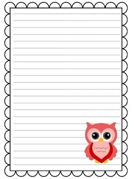 Owl Themed Lined Paper