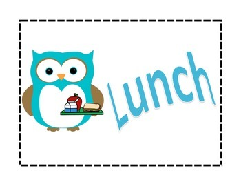Owl Themed Lunch and Recess Signs