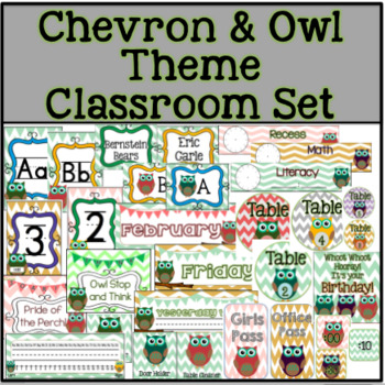 Chevron and Owl Theme Classroom Set