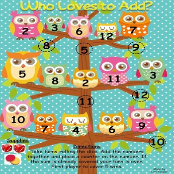 Owl Themed Math Game- Who Loves to Add?