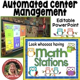 Owl Themed Math Stations - automated powerpoint for station/center rotations