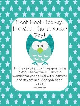Owl Themed Meet the Teacher Welcome
