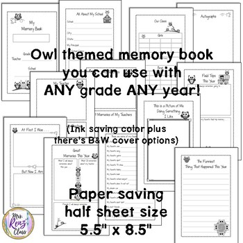Memory Book to Capture End of Year Memories for Any Grade  Any Year (Owl Themed)